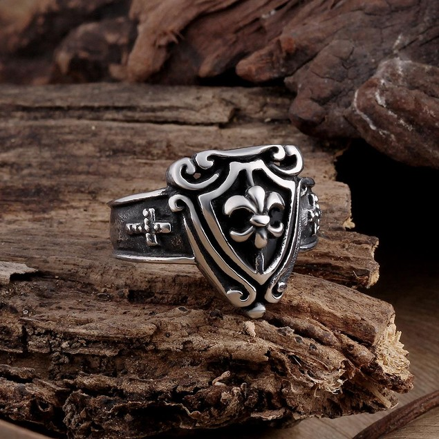 Medium Shield Emblem Stainless Steel Ring