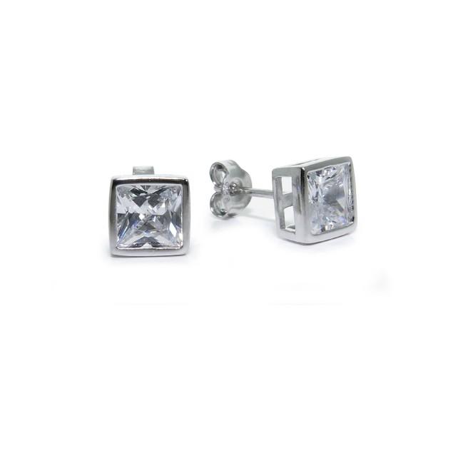 Sterling Silver Princess CZ Bezel Stud Earrings; 6mm