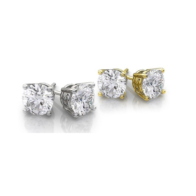 2-Piece Set: 14kt White and Yellow Studs.