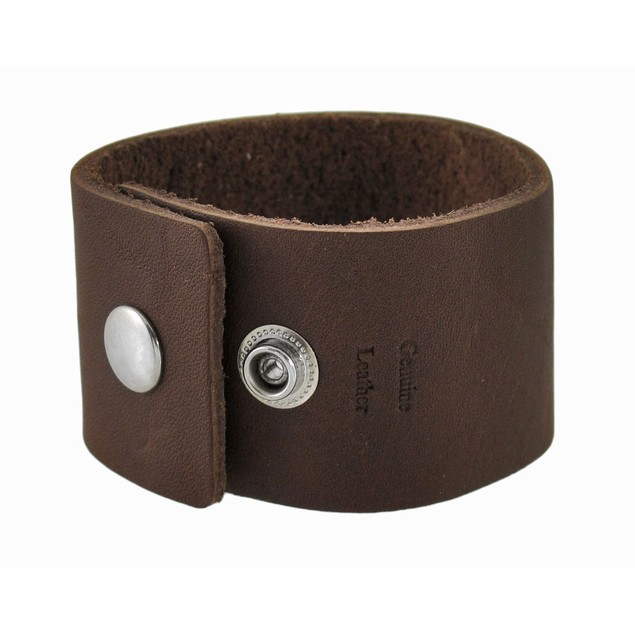Pair Of Solid Brown 1.5 In. Wide Leather Wristband Mens Leather Bracelets