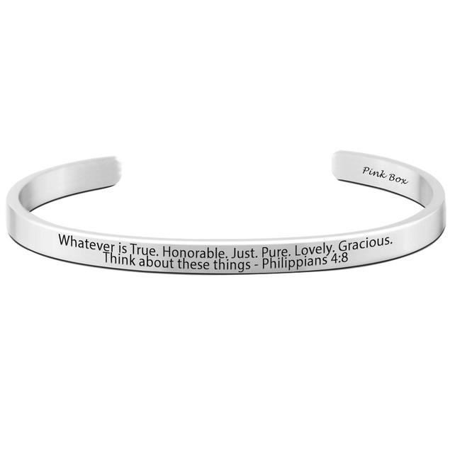 Philippians 4:8 Religious Cuff Bracelet