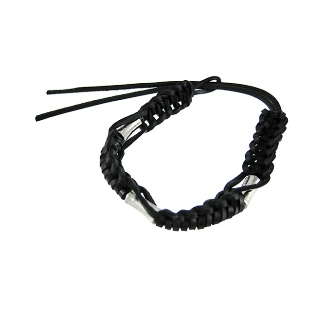 Adjustable Braided Black Cord Bracelet Metal Mens Cord Bracelets