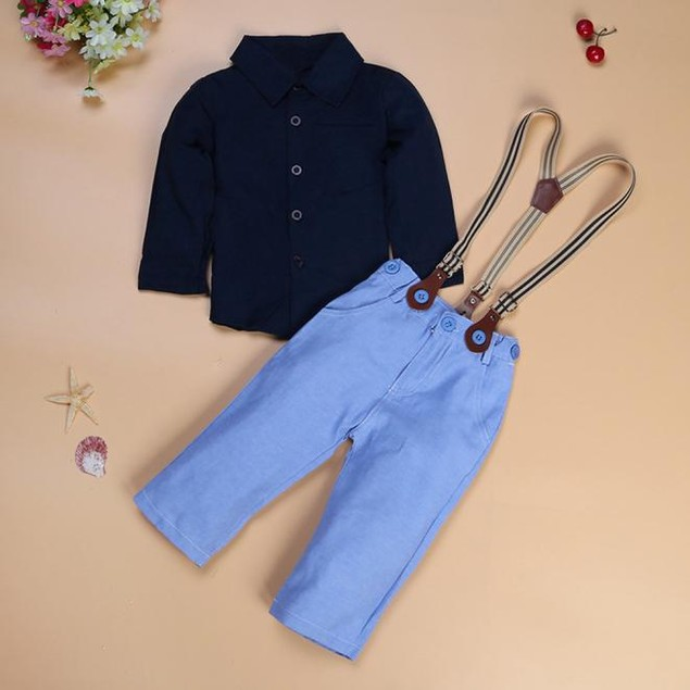 Boy Long Sleeve Top, Braces, Trousers Set
