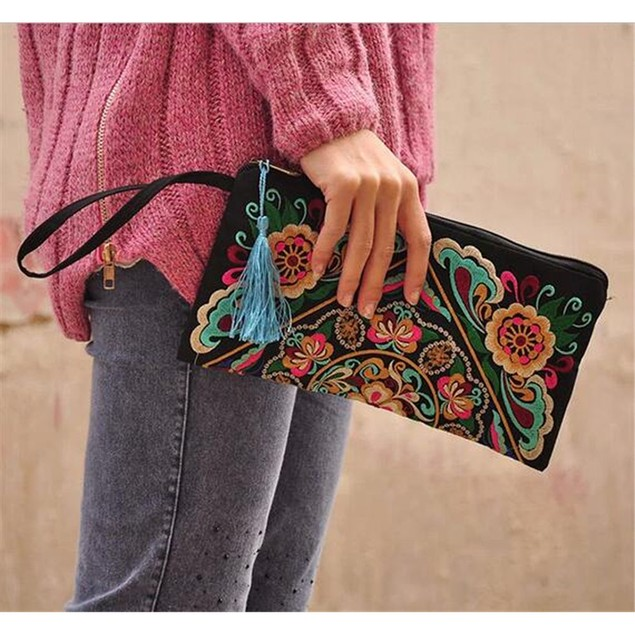 Handbag Vintage Woman Embroidery Small Bag Coin Case   galsang flower