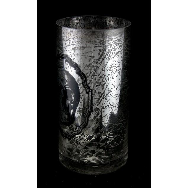 Silver Mercury Glass Skull Vase 8 In. Decorative Vases