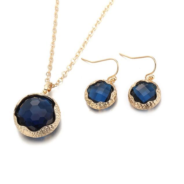 Gold Plated Sleek Sapphire Necklace & Earrings Set