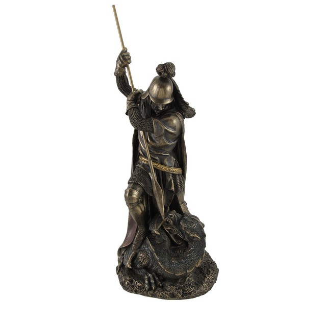 Bronzed Standing St. George Slaying Dragon Statue Statues