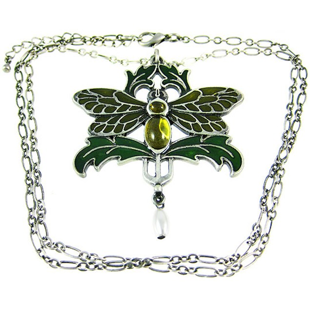 Solid Pewter & Enamel Dragonfly Pendant And Womens Pendant Necklaces