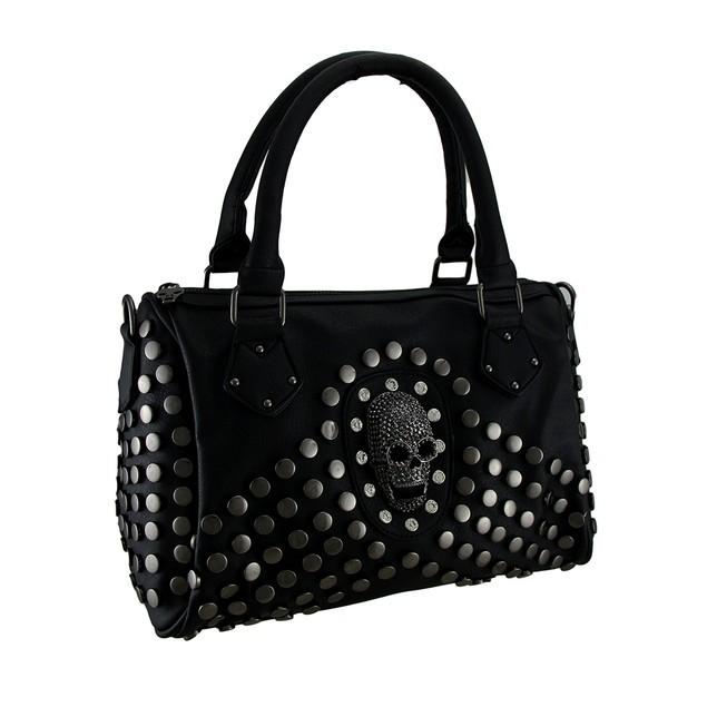 Black Studded Rhinestone Skull Handbag With Womens Shoulder Handbags