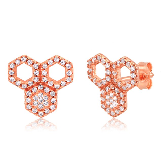 Rose Gold Plated Sterling Silver Honeycomb Earrings