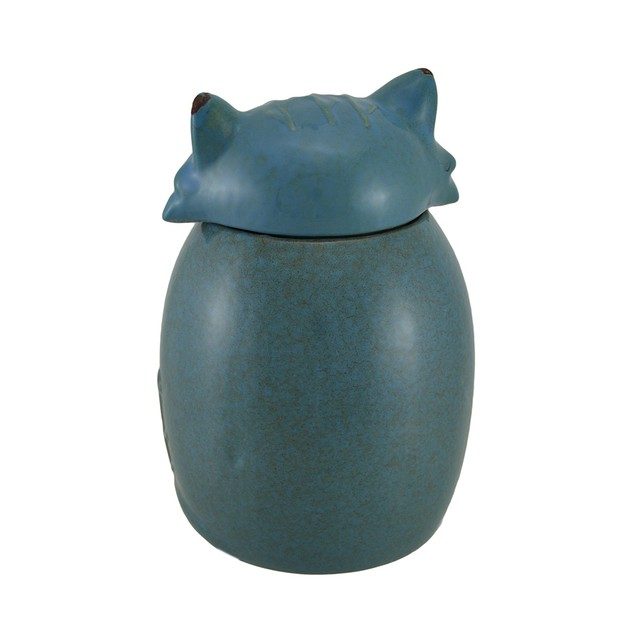 Blue Ceramic Snow Fox Cookie / Treat Jar Cookie Jars