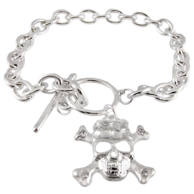 Chrome Link Toggle Bracelet - Dangling Skull Womens Chain Bracelets
