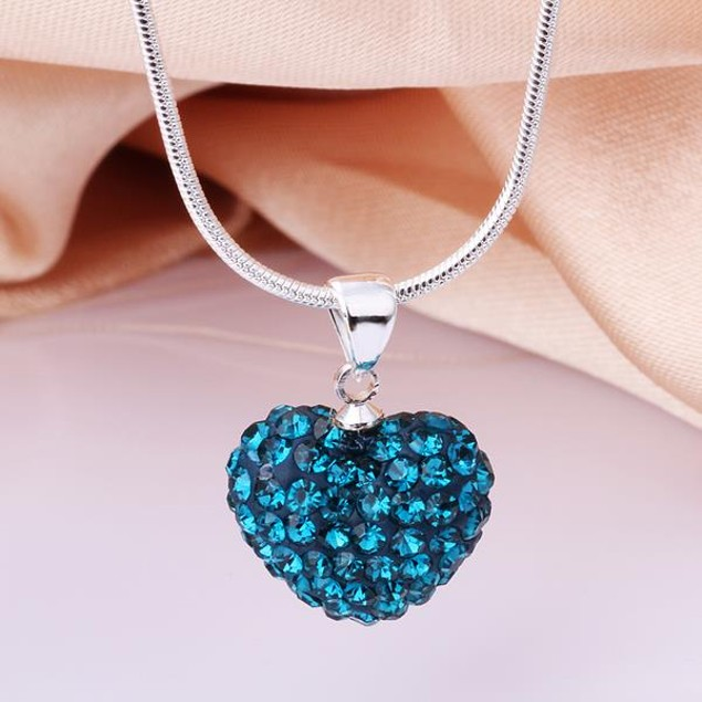 Solid Austrian Stone Heart Shaped Necklace - Royal Blue