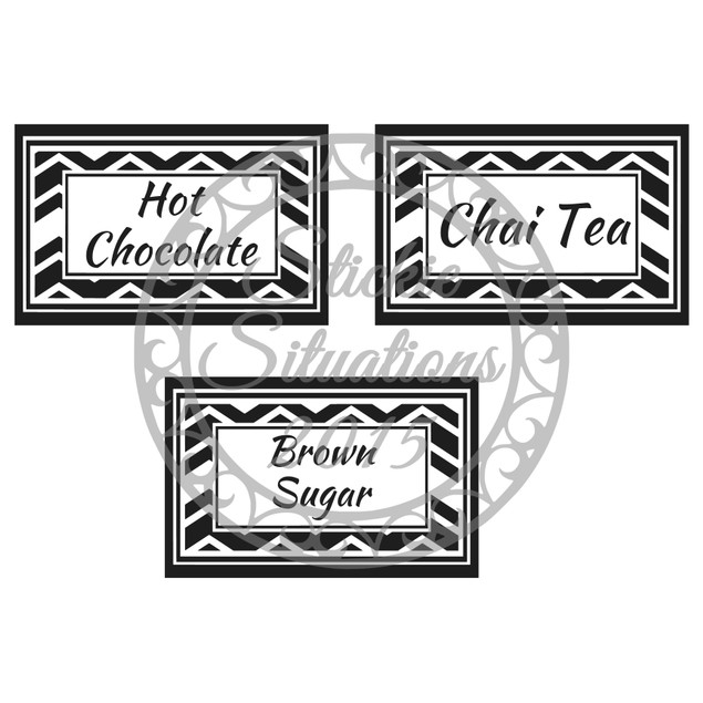 Set of 4 Chevron Vinyl Labels