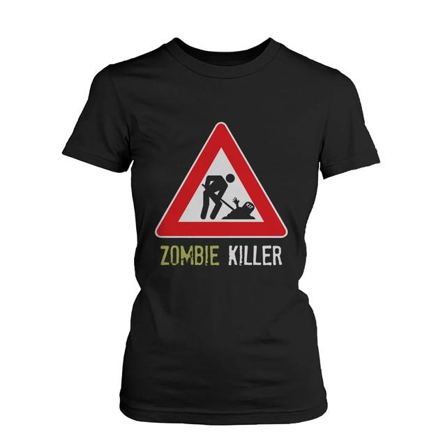 Zombie Killer Warning Sigh Women's Tshirt Funny Horror Halloween Tee Shirt