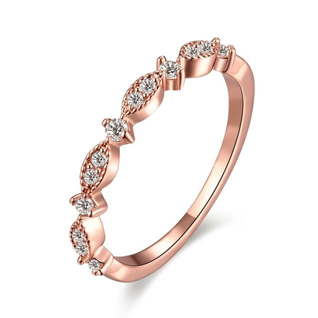 Rose Gold Plated Swirl Crystal Ring