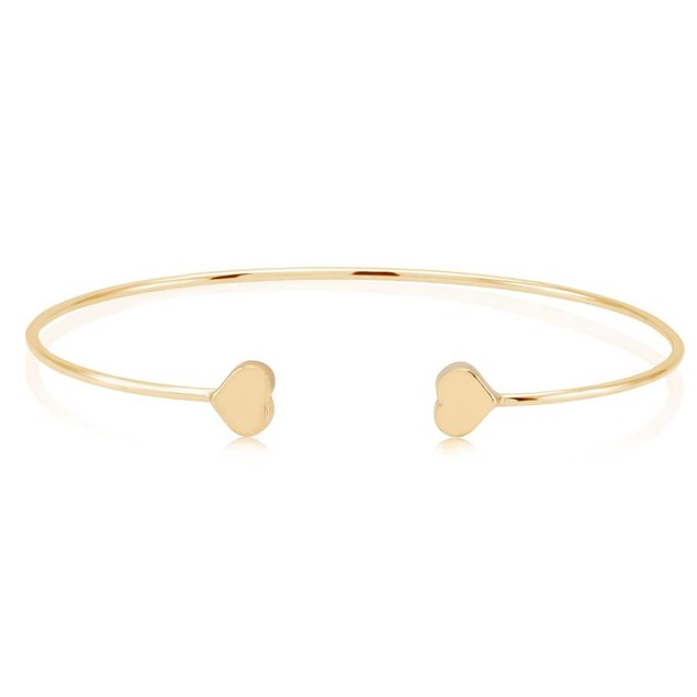 Double Sided Heart Bangle Bracelet