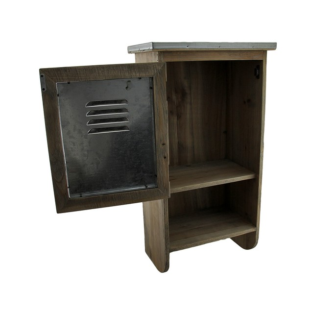 Rustic Reclaimed Wood Wall Cabinet W/Shelf And Cabinets