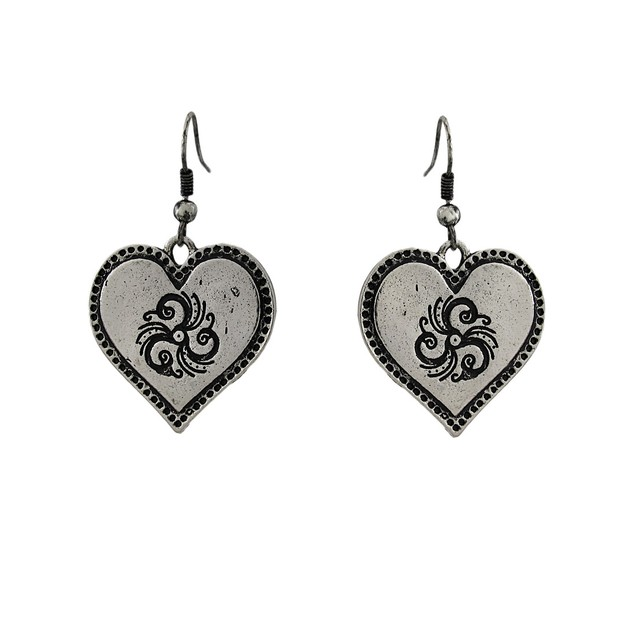Tri Tone Bib Heart Charm Necklace And Earring Set Womens Earring And