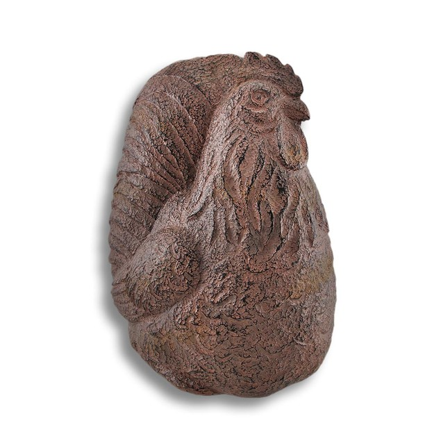 Brown And Gray Rooster Carved Stone Look Statues 2 Statues