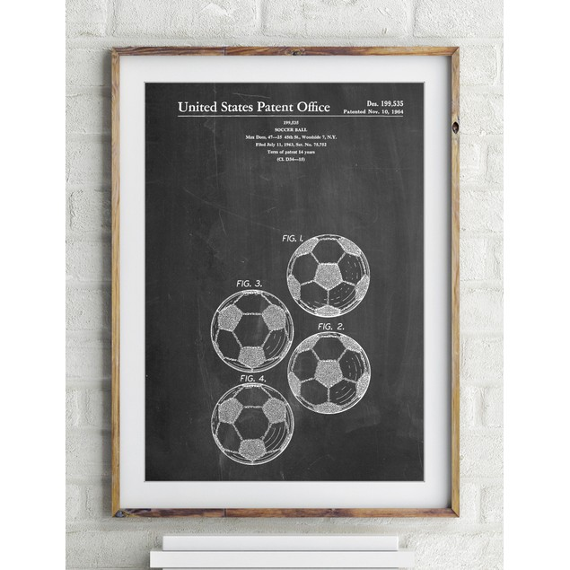 Soccer Ball 4 Image Patent Poster