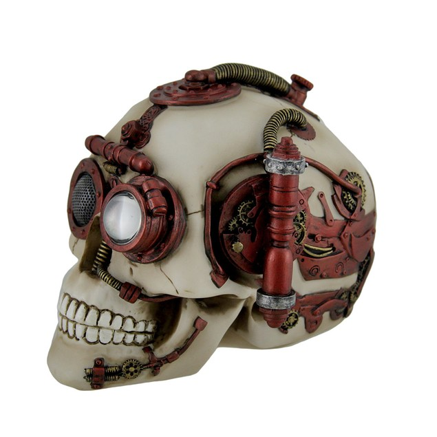 Red And White Gearhead Steampunk Skull Statue Decorative Boxes