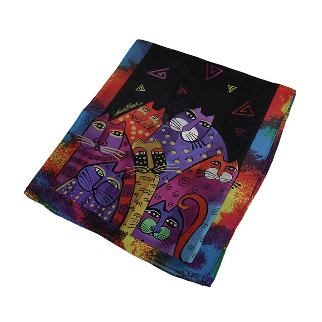 Laurel Burch Whiskered Family Silk Scarf Womens Fashion Scarves