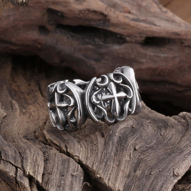Double Cross Emblem Stainless Steel Ring