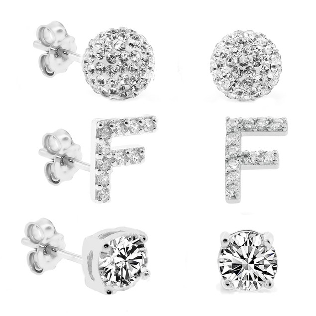3-Piece Set: Initial Stud Earrings with Swarovski Elements - F