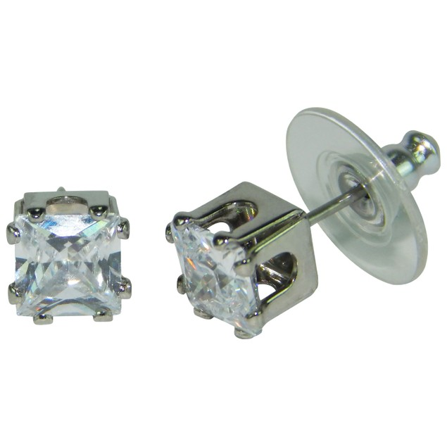.925 Sterling Silver Square Cubic Zirconia Stud Earrings