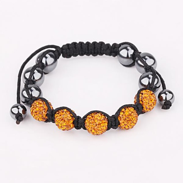 80's Glam Five Beads Austrian Crystal Bracelet - Orange Citrine