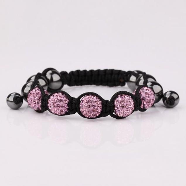 80's Glam Five Beads Austrian Crystal Bracelet -Dark Coral