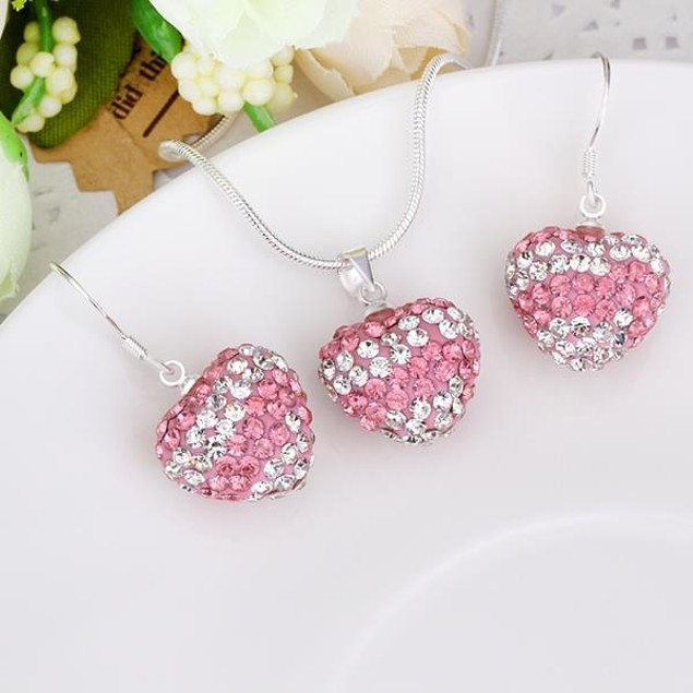 Austrian Stone Multi-Pave Heart Drop Earring and Necklace Set - PInk Topaz