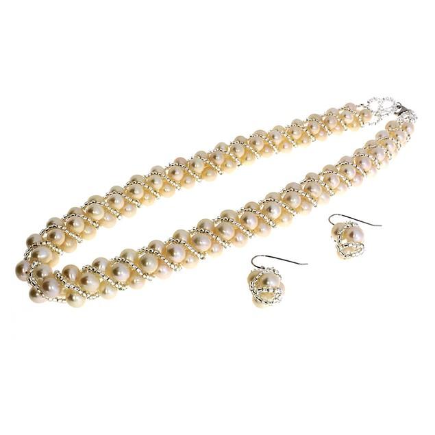 Genuine Freshwater Cultured White Potato Bead Pearl Set