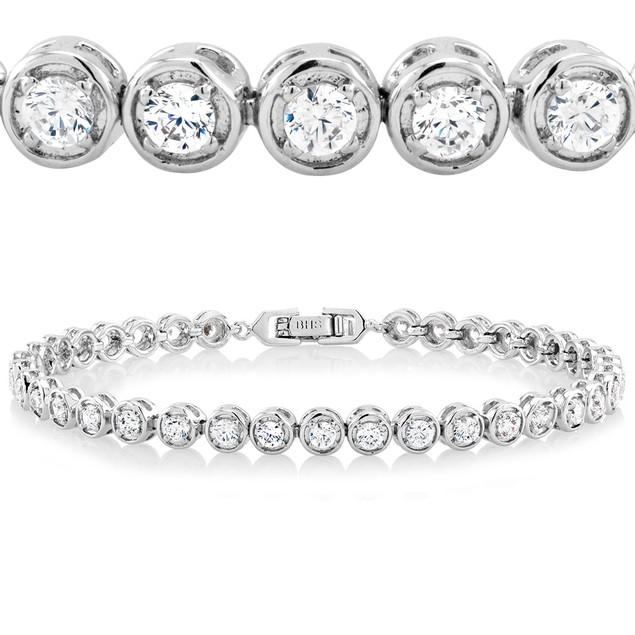Silver Plated Cubic Zirconia Tennis Bracelets - 4 Styles