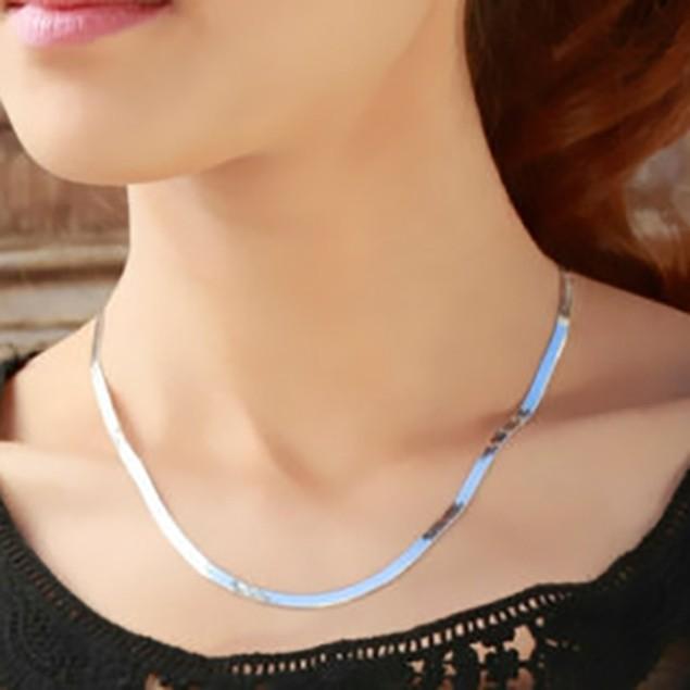 "Sterling Silver 4mm Italian Herringbone Necklace - 16""-20"""
