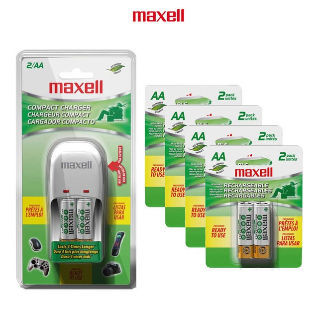 Maxell BC-100 AC/USB Fast Charger with 10 AA 2100 mAh Batteries