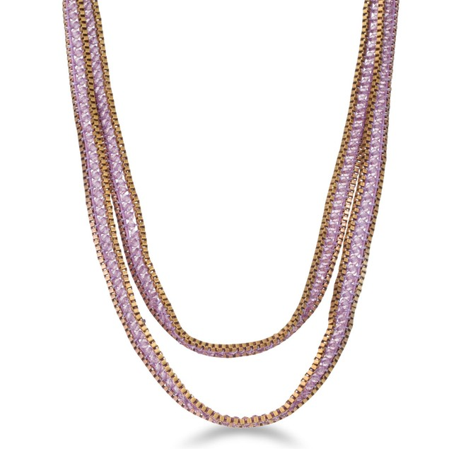 Purple Crystal Wrap Necklace with Gold Tones