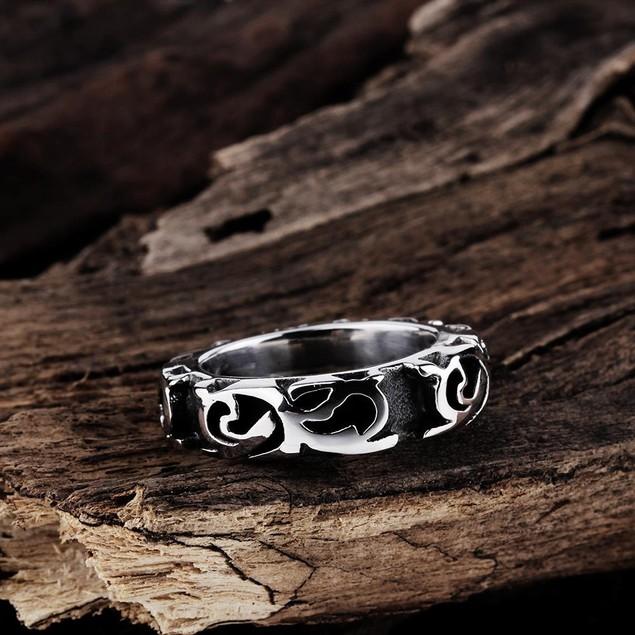 Roman Ingrained Stainless Steel Ring