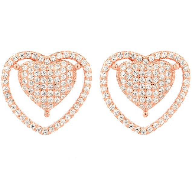 Rose Gold Plated Sterling Silver Heart Earrings
