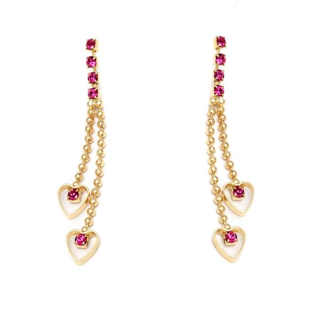 Gold and Swarovski Elements Double Heart Drop Earrings