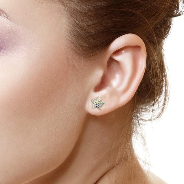 Sterling Silver Sparkling Crystal 10mm Stud Earrings - Star Rainbow