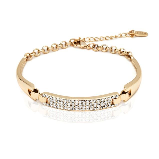 18K Gold Plated Gold and White Swarovski Elements Block Bracelet
