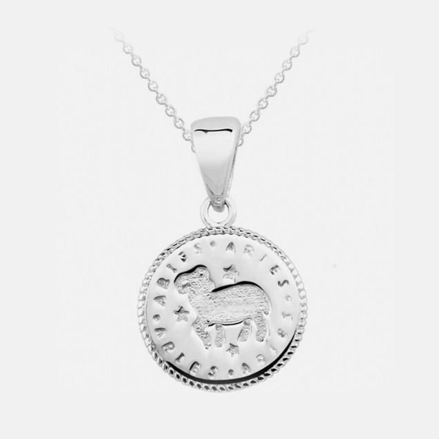 Inspired Sterling Silver Zodiac Pendant - Aries