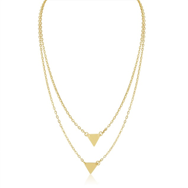 Double Layer Triangle Necklace - White/Yellow Tone