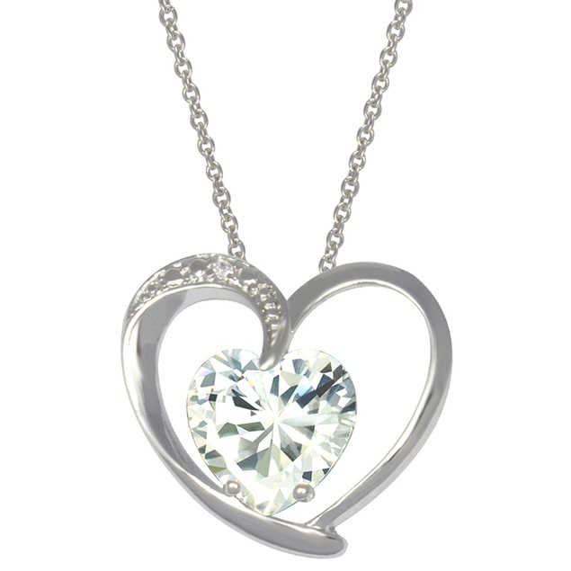 Sterling Silver Heart Pendant With Simulated Diamond Heart Stone