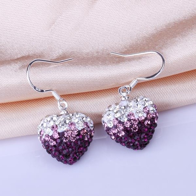 Heart Shaped Austrian Stone Drop Earrings -Dark Lavender