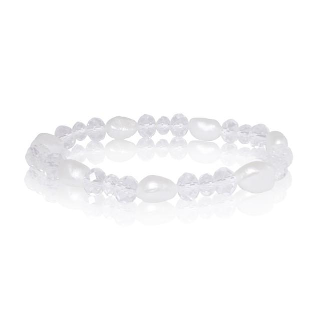 Double Strand Imitation Pearl & Crystal Necklace and Bracelet Set