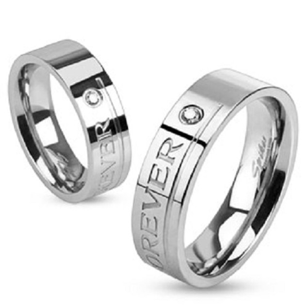 """""""Love You Forever"""" Engraved Stainless Steel Ring"""