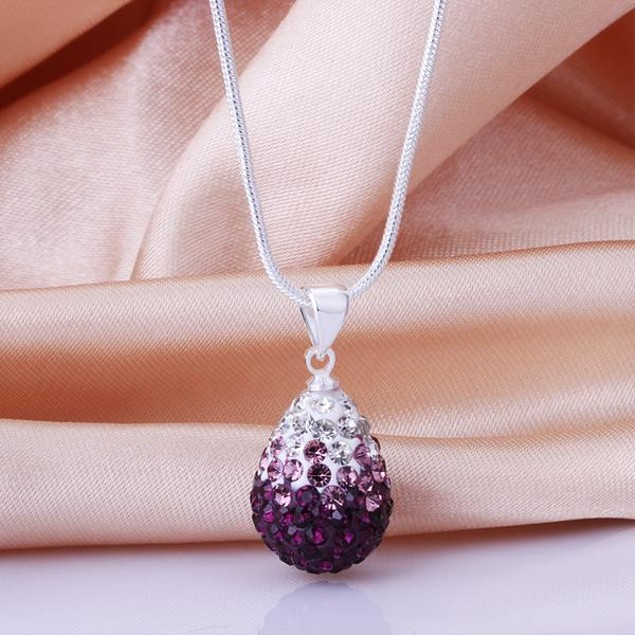 Classic Austrian Stone Necklace - Sharp Lavender
